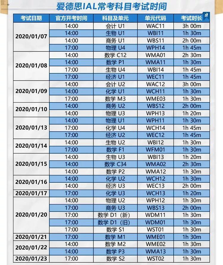2020年A-Level、AP、IB及托福、雅思等各大考试最全时间表!