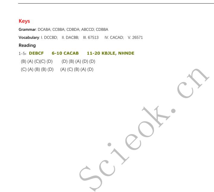 备考资料|备考深国交2020春季能力自评模拟卷 - 英语1卷 (含答案)  备考国交 备考英语 第21张