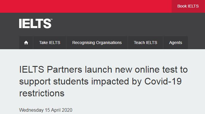 雅思官网:IELTS Indicator将于2020年4月22日正式预约--可在家考雅思啦