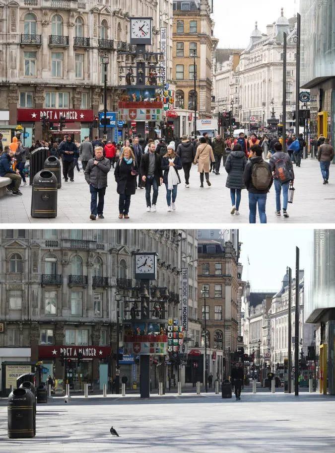 50张英国疫情前后的同角度对比照片,展示健康之重要平安之宝贵  疫情相关 第21张