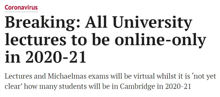 剑桥取消新学年面授课进至21年夏季,成英国首所全学年网络授课大学