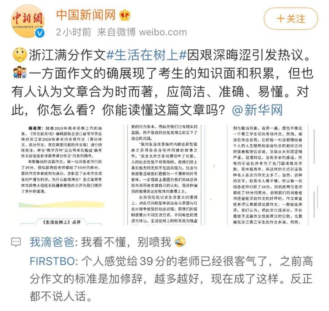 """浙江高考满分作文让人看不懂,哲学表示""""不背这个锅"""""""