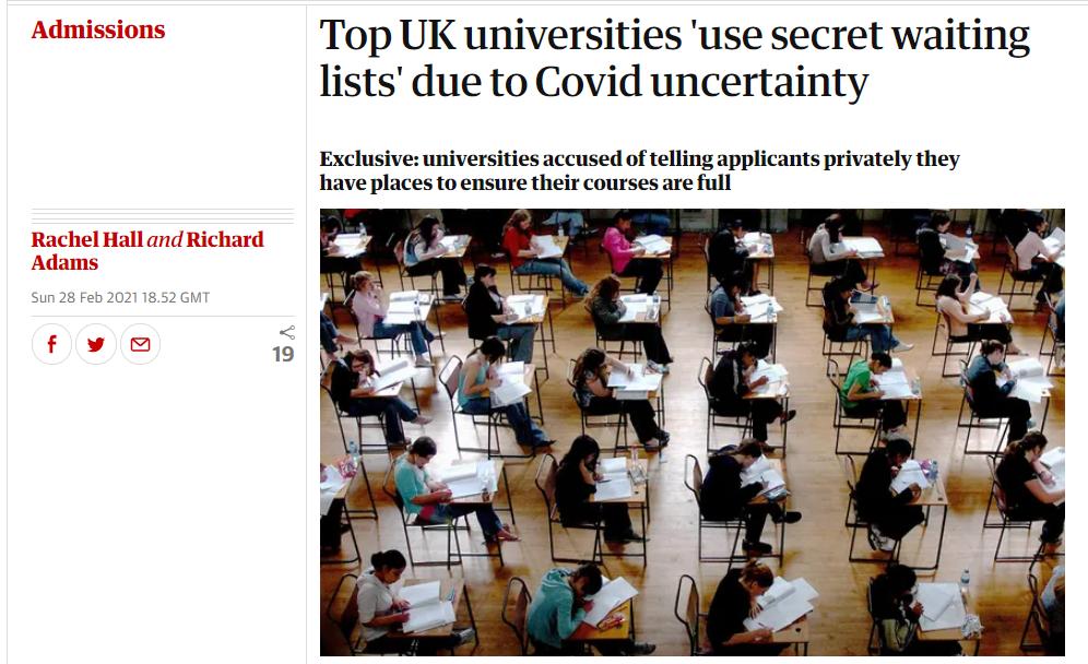 """《卫报》独家:英国顶尖大学录取出现""""秘密候补名单"""""""